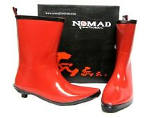 NOMAD Emo Red Black Soles Mid-Calf Wellies Rubber Rainboots Rain Boots