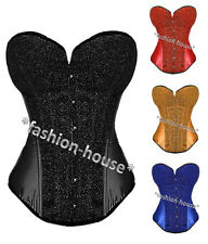 New Sexy Satin Fashion Burlesque Lace Up Boned Corset Bustier Top+G-String--5206
