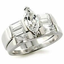 0.8 Ct Marquise cut CZ Center Womens Wedding Engagement Rhodium Plated Ring Set