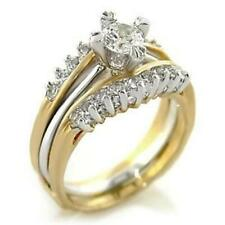 1.03ct Round cut CZ Womens TWO TONE GOLD PLATED RINGS SET sz 5,6,7,8,9,10