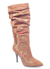 WOMEN SHOES DESIGNER BROWN LEATHER SUEDE SLOUCH KNEE HIGH HEEL COWGIRL BOOTS