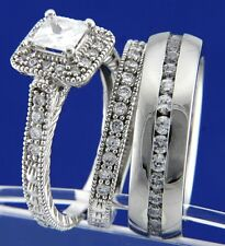 3pcs .925 Silver / Stainless Steel CZ Engagement Wedding Bridal Band Rings Set