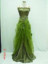 Cherlone Satin Green Lace Long Prom Ball Wedding/Evening Bridesmaid Gown Dress