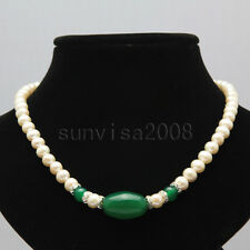 "real 7-8mm white freshwater pearl necklace 18"" +14x19mm green agate pendants"