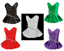 New Sexy Satin Pleated Skirted Burlesque Boned Lace Up Corset Basque Top--1308