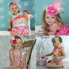 Satin Baby Petti Ruffle Romper Polka Dot/Heart Prints Toddler Girl Photo Prop