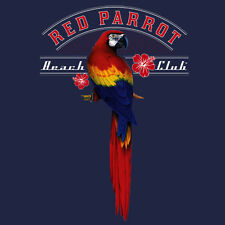Red Parrot Beach Club T-shirt men S M L XL 2X 3X surf by BLUE WAVE CREATIONS n