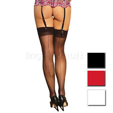 Sheer Thigh High Hi Stockings with Back Seam Nylons O/S or Plus Size - 1701