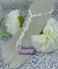 White glass Pearl & Clear AB Crystals TWIST beach bride Barefoot Sandals anklets