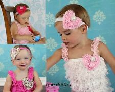 Baby Lace Petti Ruffle Romper/Chiffon Heart Bow/Headband Photo Prop Toddler/Girl