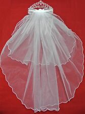 White Ribbon Pearl Crystal Tiara Wedding Flower Girl Veil Holy First Communion