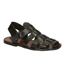 HANDMADE MENS FRANCISCAN SANDALS IN DARK BROWN LEATHER MAN MADE IN ITALY