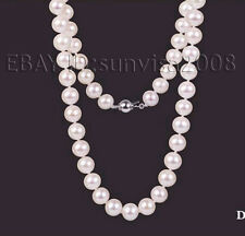 "free velvet box AAA 6.5mm beautiful white akoya cultured pearl necklace 17""-22"""