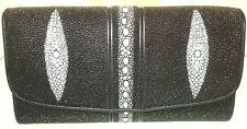 VARIETY 100% GENUINE BLACK STINGRAY SKIN AND LEATHER LADIES CLUTCH PURSE WALLET