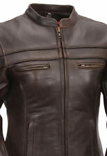 WOMENS SOFT BROWN NAKED LEATHER MOTORCYCLE BIKER JACKET MANDARIN COLLAR VENTS