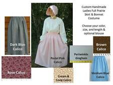 Women Ladies Pioneer prairie skirt set opt. blouse bonnet pick size & color