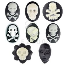 Skull Cross Bone Head Statue Flatback Cameo Resin Cabochons Size Shape u Choose