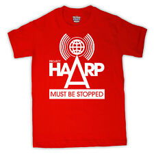 PROJECT HAARP MUST BE STOPPED CONSPIRACY THEORY T SHIRT ALL COLOURS AND SIZES