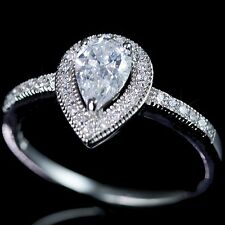 .925 Sterling Silver Simulated Pear Cut Diamond Bridal Engagement Band Ring