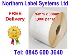 76mm x 38mm WHITE Direct Thermal Labels 1,000 per roll for Zebra type printer