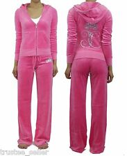 NWT JUICY COUTURE Bling Ornate Monogram Pink Fizz Velour Hoodie Pants Tracksuit