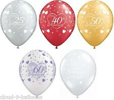 """5 Qualatex 11"""" Helium Quality Happy Anniversary & Little Hearts Party Balloons"""