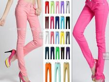 Womens Stretch Candy Pencil Pants Casual Slim Fit Skinny Jeans Trousers 23 Color