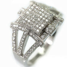 925 Fancy Cluster Sterling Silver Cubic Zirconia CZ  Bridal Engagement Band Ring