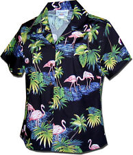 Ladies Fitted Tropical Shirts Island Flamingo 348-3416 NEW Made in Hawaii.U.S.A.