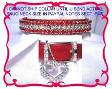 ~ Red Velvet & Diamonds~Rhinestone Dog Collar - Free Heart Charm #304