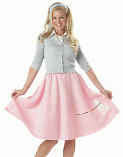 Poodle Skirt Sock Hop Pink Adult Womens Outfit Halloween Costume