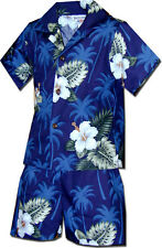 Boys Hawaiian Shirt Set Island Hibiscus 220-2798 NEW 100% Cotton Made in Hawaii.