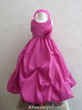 PO1 HOT PINK WEDDING FLOWER GIRL DRESS RECITAL BRIDESMAID 2 4 6 8 10 12 14