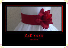 NEW RED BELT SASH  MATCH FLOWER GIRL CHRISTMAS DRESS