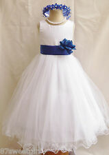 NEW WHITE ROYAL BLUE WEDDING BIRTHDAY PAGEANT PARTY KIDS FLOWER GIRL DRESS