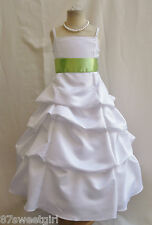 SPU WHITE APPLE GREEN WEDDING PARTY RECITAL GOWN PAGEANT FLOWER GIRL DRESS