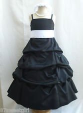 SPU BLACK WHITE BRIDESMAID WEDDING PARTY RECITAL GOWN PAGEANT FLOWER GIRL DRESS