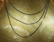 """0.6MM 14K WHITE GOLD SPARKLY PAVE-CUT BOX CHAIN NECKLACE 16""""-24"""" 0.90-1.7 GRAMS"""
