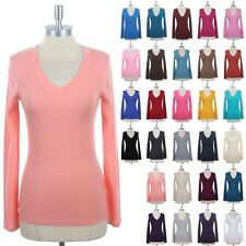 Women's Casual Solid Plain Cotton V Neck Long Sleeve Tee Shirt Top Spandex S M L