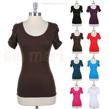Cotton Solid Jersey Scoop Neck Short Shirred Sleeve Tee Shirt Top Casual Spandex