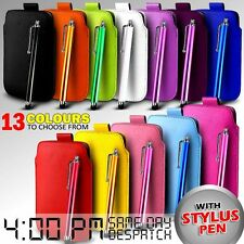 LEATHER PULL TAB SKIN CASE COVER POUCH & STYLUS FOR VARIOUS BLACKBERRY MOBILES
