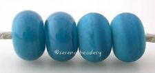 5 ATLANTIS BLUE * donut handmade lampwork glass spacer beads TANERES sra