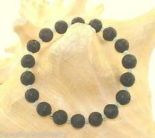 8MM VARIETY BLACK LAVA SCORIA BASALT ROUND BEAD & COLOR BEAD STRETCH BRACELET