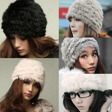 New Real Rabbit Fur Knitted Hat Cap Women Winter nice quality warm fashion