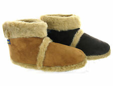 NEW COOLERS MENS FUR LINED WARM COSY FURRY SLIPPERS ANKLE BOOTIES SIZE 7-12 UK