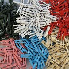 100 Coloured Craft Wooden Mini Pegs - 6 Colours