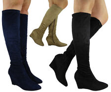 NEW WOMENS LADIES KNEE HIGH FAUX SUEDE STRETCH CASUAL HEEL WEDGE ZIP BOOTS SIZE