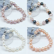 free shipping 9-10mm white black pink Lavender multicolor akoya pearl bracelet