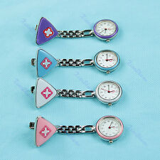 Cross Red Triangle Nurse Clip Fob Brooch Pendant Hanging Pocket Watch Fobwatch