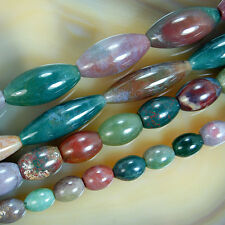 "Natural Colorful Indian Agate Oval Beads 15.5"" 8x10mm-12x24mm Pick Size"